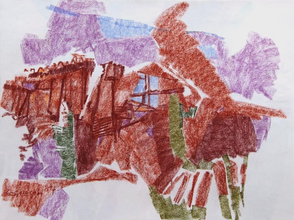 Meine Sehnsucht ein altes Haus im Walliser Berg Pastell 1984