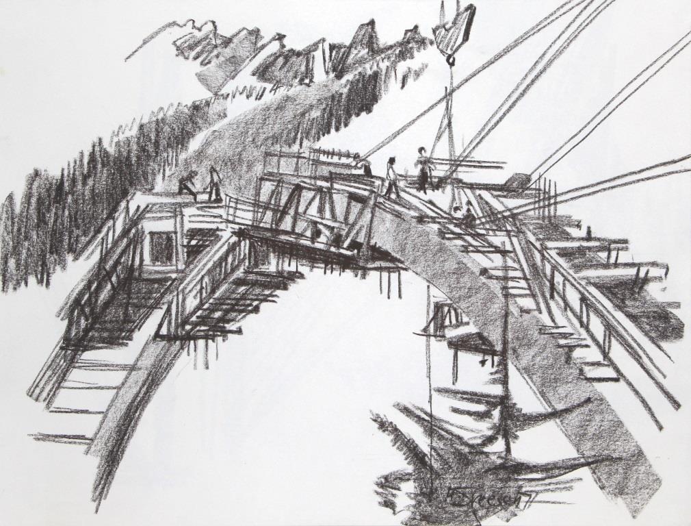 Brückenbau in Simplon Dorf 1977
