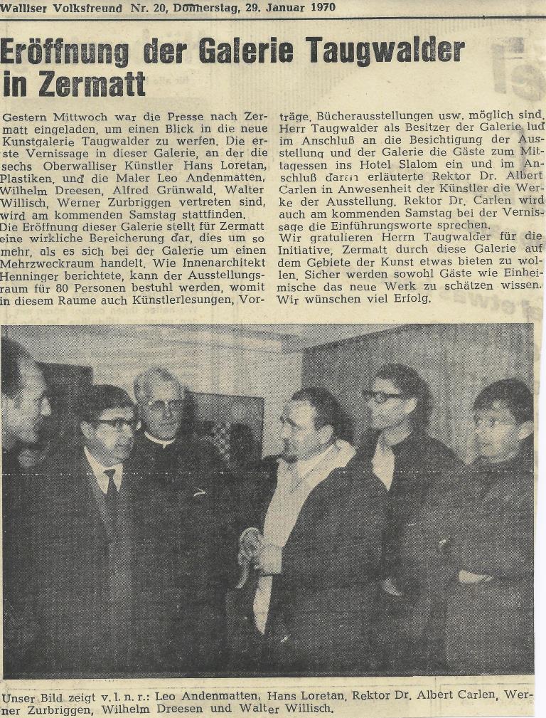 Bericht des Walliser Volksfreund zur Ausstellung in der Galerie Taugwalder in Zermatt 1970